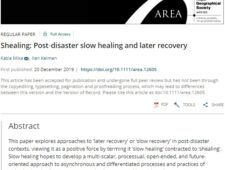 Shealing: Post‐disaster Slow Healing and Later Recovery